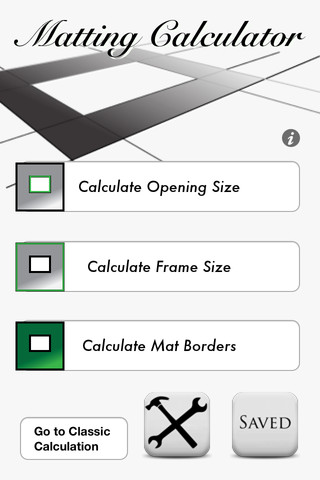Matting Calculator App Screenshot